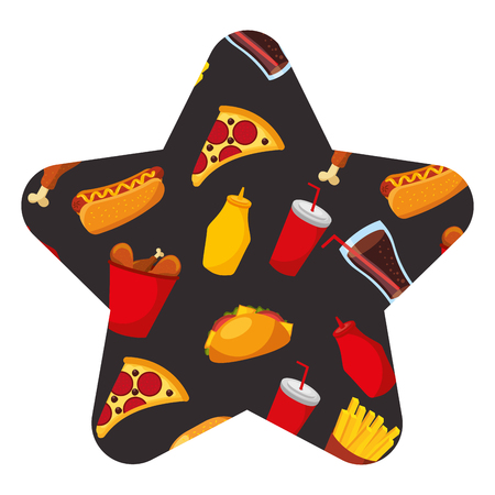 Fast food concept,  hot dog, chicken, pizza, and soda borderless,  repetitive  pattern illustration in star shape design.