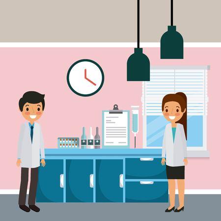 Artsen, man en vrouw in het ziekenhuisafdeling met meubels en medische apparatuurillustratie.
