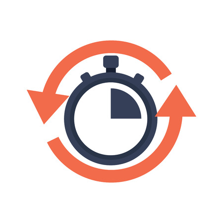 stopwatch or chronometer with arrows time icon image vector illustration design