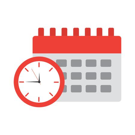 klok met kalender tijd pictogram afbeelding vector illustratie ontwerp Stock Illustratie