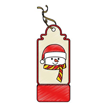 Christmas tag hanging icon illustration in snowman design. Illusztráció