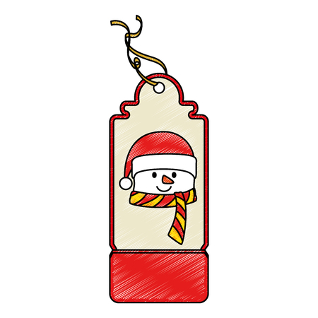 Christmas tag hanging icon illustration in snowman design. Illustration