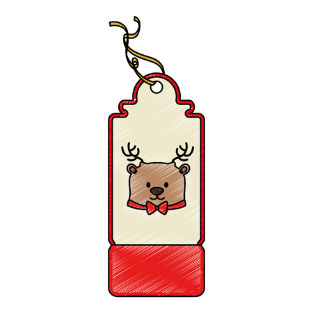 Christmas tag hanging icon in reindeer illustration design. Иллюстрация
