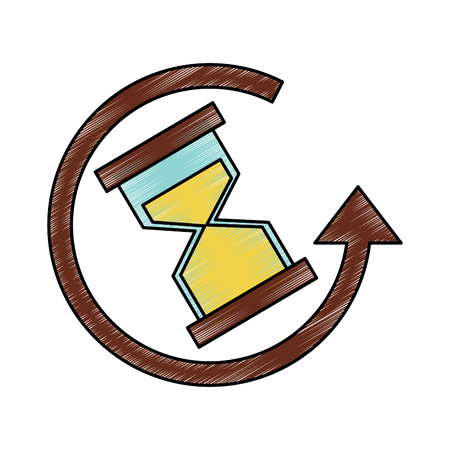 Hourglass or sandglass with arrow time icon image illustration design. Ilustração