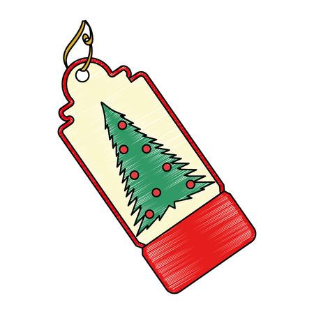 Christmas tag hanging icon illustration design.