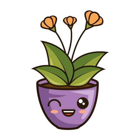 house plant in pot  character vector illustration design Illustration