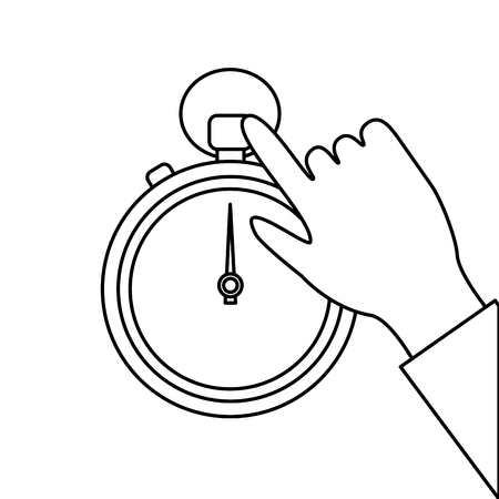 stopwatch or chronometer with hand time icon image vector illustration design