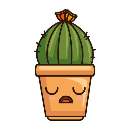 pot with desert plant character vector illustration design Çizim