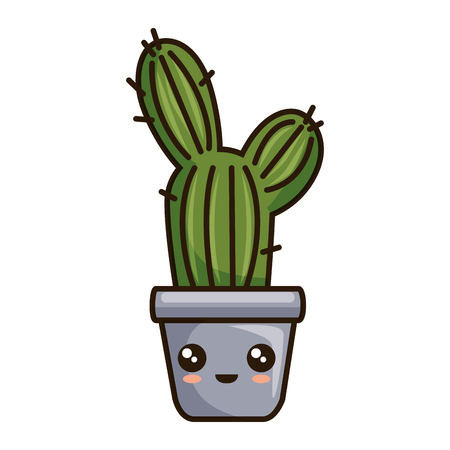 pot with desert plant character vector illustration design Illustration
