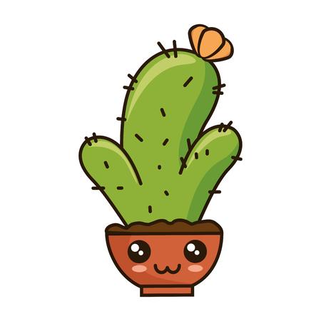 pot with desert plant  character vector illustration design