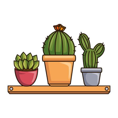 pots with desert plants in shelf vector illustration design Illustration