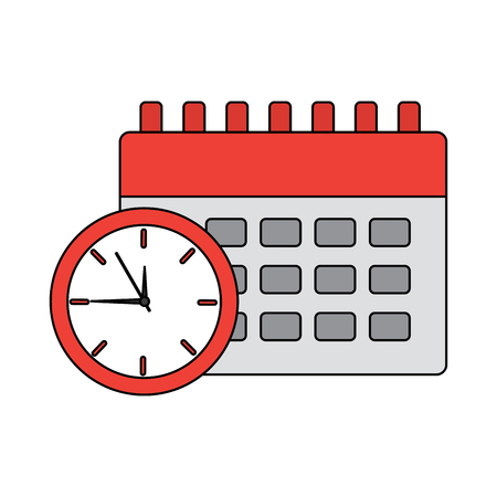 clock with calendar time icon image vector illustration design  Çizim