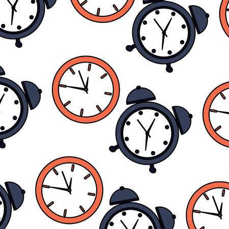 alarm clock time pattern image vector illustration design