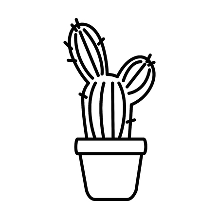 pot with desert plant vector illustration design Stok Fotoğraf - 92370460