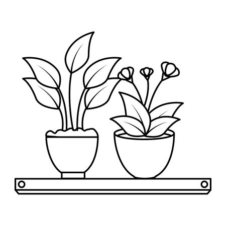 house plants with pots in shelf vector illustration design