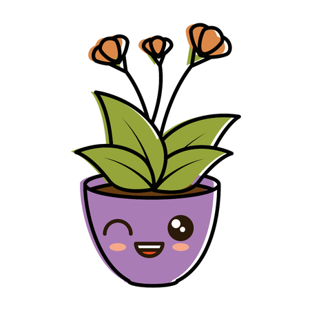 house plant in pot character vector illustration design