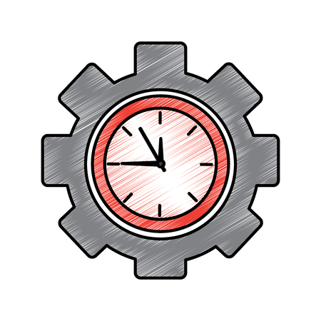 clock with gear time icon image vector illustration design  Illustration