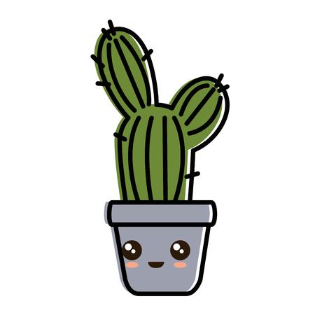 pot with desert plant character vector illustration design Иллюстрация