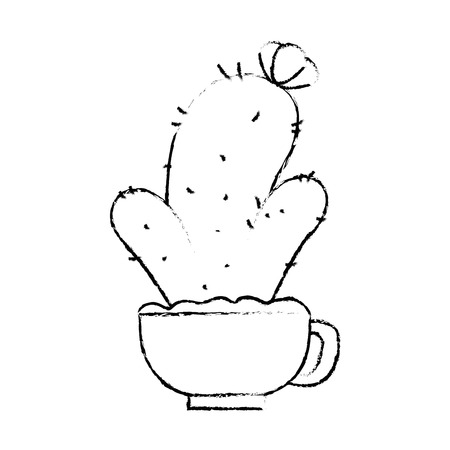 pot with desert plant vector illustration design Stok Fotoğraf - 92368808