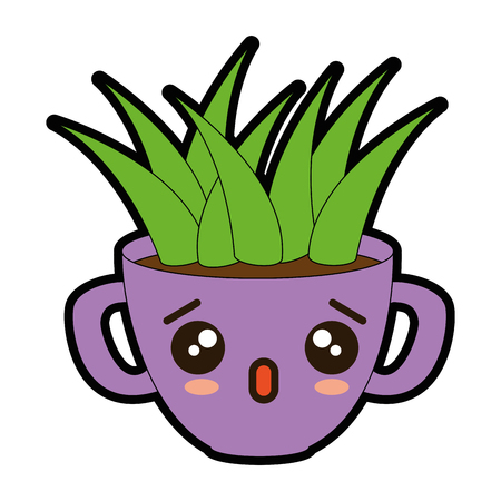 House plant in pot  cartoon character illustration design.