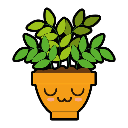 House plant in pot cartoon character illustration design. Ilustrace