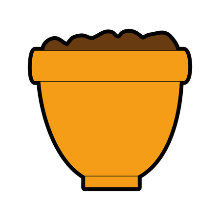 Flower pot with soil illustration design. Иллюстрация
