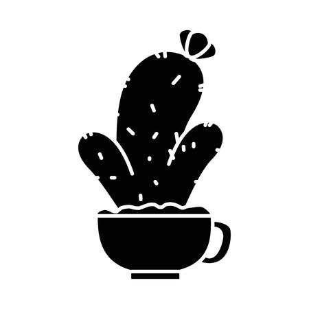 Pot with desert plant illustration design. Illustration