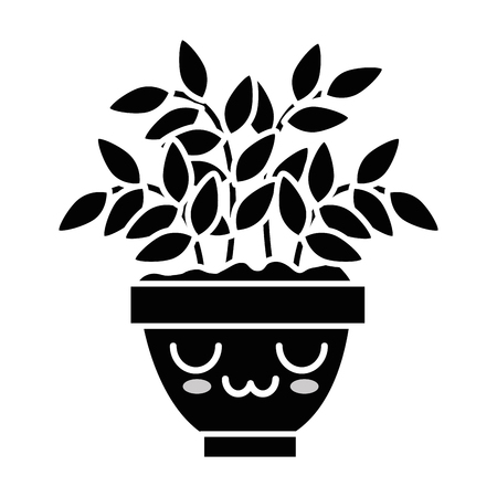 House plant in pot cartoon character illustration.