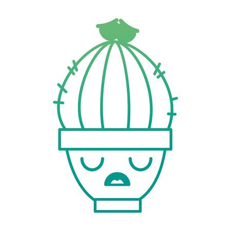Pot with desert plant kawaii character vector illustration design.