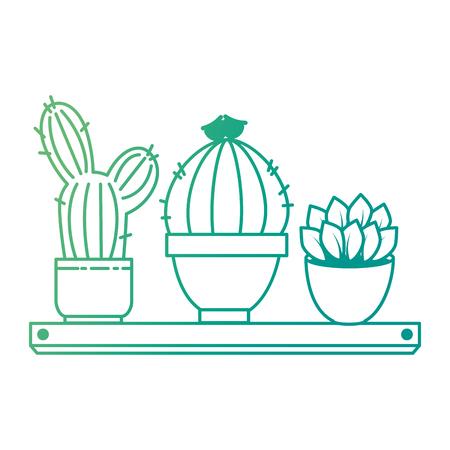 pots with desert plants in shelf vector illustration design Çizim