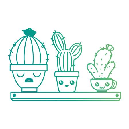 pots with desert plants in shelf character vector illustration design