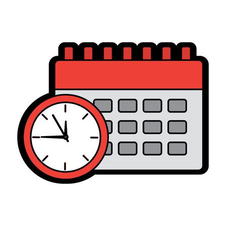 clock with calendar time icon image vector illustration design  Çizim