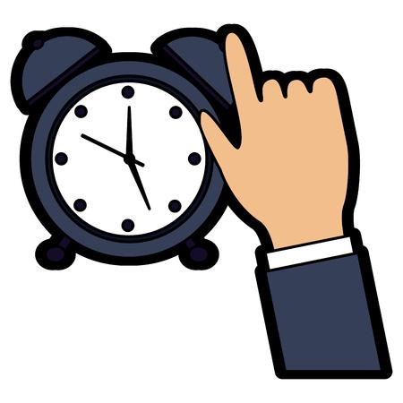 wekker met hand tijd pictogram afbeelding vector illustratie ontwerp