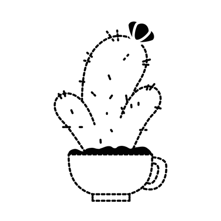 Pot with cactus plant illustration design.