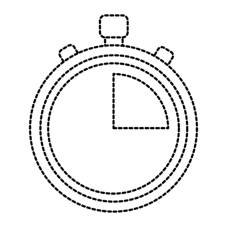 Stopwatch or chronometer time icon image illustration design in black dotted line.