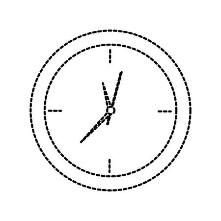 Clock, time icon image illustration design black dotted line.