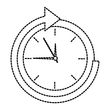 Clock with arrow time icon image illustration design in black dotted line. Illustration