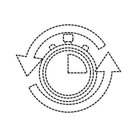 Stopwatch or chronometer with arrows time icon image illustration design in black dotted line. Illustration
