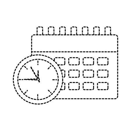 Clock with calendar time icon image illustration design in black dotted line.