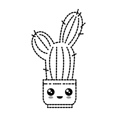 Pot with cactus plant cartoon character illustration design.