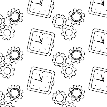 Clock with gears time icon image illustration design in black dotted line.