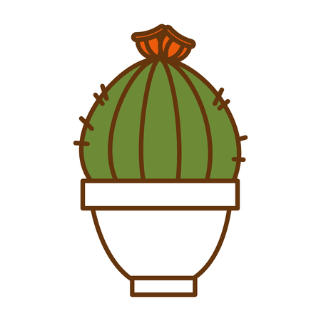 White pot with cactus plant illustration design. Illustration