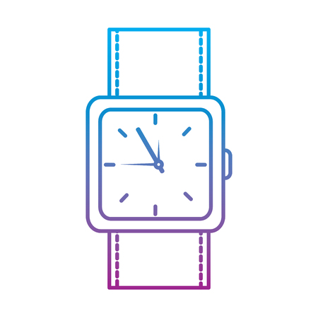 Watch square, face time icon image illustration design in blue to purple ombre line.
