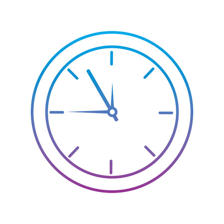 Clock time icon image illustration design in blue to purple ombre line.