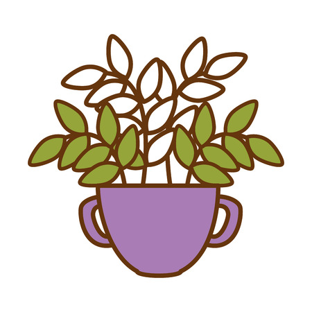 Purple pot with plant illustration design.