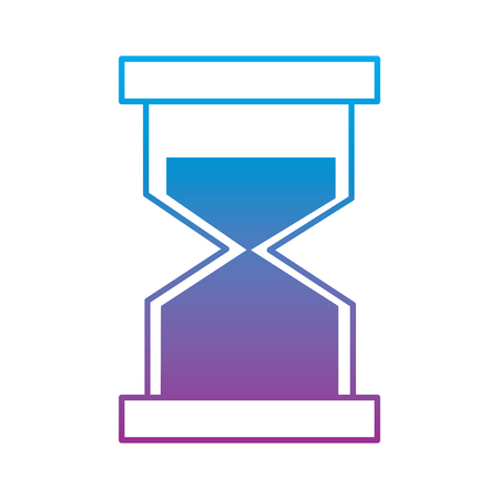 Hourglass or sandglass icon image illustration design in blue to purple ombre line.