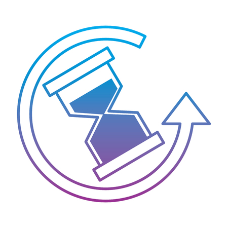 Hourglass or sandglass with arrow time icon image illustration design in blue to purple ombre line. Illustration