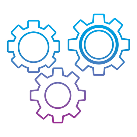 Gears three icon image illustration design in blue to purple ombre line. Çizim