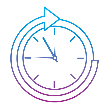 Clock with arrow time icon image vector illustration design blue to purple ombre line