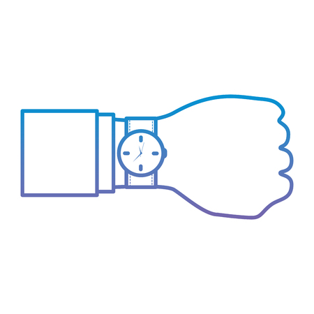 Watch with hand time icon image vector illustration design blue to purple ombre line Illustration